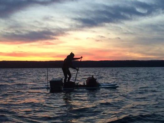 Gordon Middleton sets off from Ithaca on Cayuga Lake