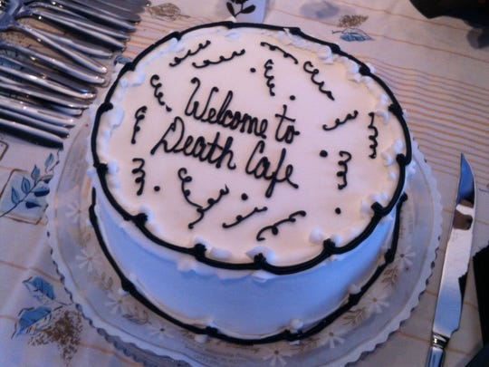 The cake at the first Death Cafe that Jennifer Vines and Monica Doyle hosted.