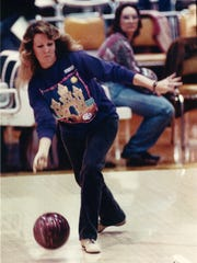 Laura Tate of the Corpus Christi Women's Bowling Association, throws during a shakedown tourney at the site of the upcoming American Bowling Congress; 1992 Tournament at the Bayfront Convention Center in February 1992.