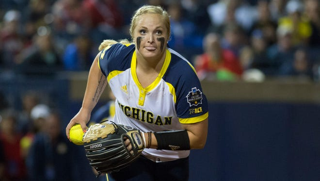 Michigan pitcher Megan Betsa threw a no-hitter with 13 strikeouts Saturday night in a 4-0 win over Fresno State.