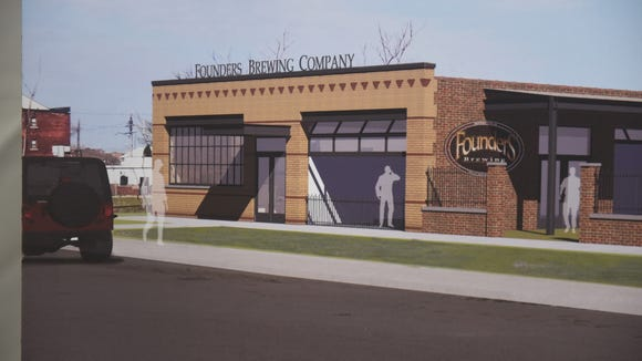 This is an artist rendering of the new Founders taproom at 456 Charlotte in Detroit.
