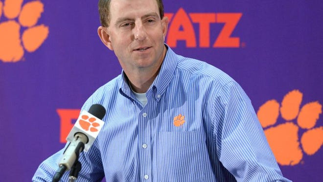 Clemson coach Dabo Swinney speaks during a news conference previewing spring practice.