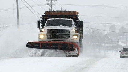 Snow plows were busy in certain parts of the region on Sunday, including Bruno, where 5 inches of snow were dumped.