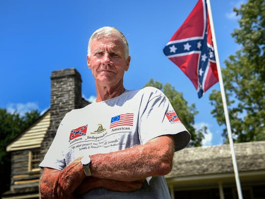 Gene Andrews stands in front of Nathan Bedford Forrest's boyhood home in Chapel Hill, Tenn., on Thursday, Aug. 17, 2017. He has been the caretaker there for nearly a decade.