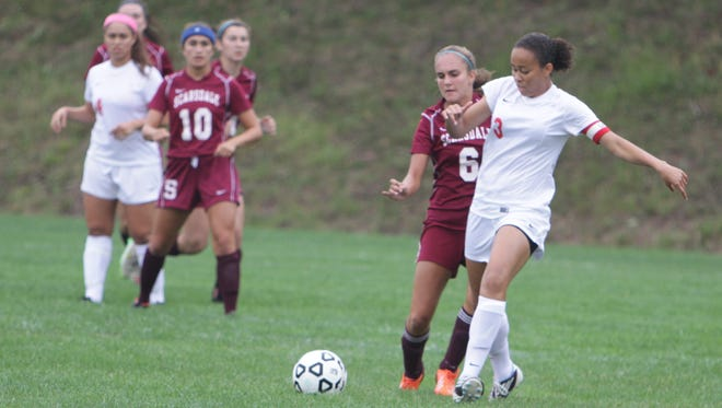 North Rockland junior Naya Rivera (3) and Scarsdale freshman Allison Stafford (6) battle for possession of the ball during a game at North Rockland High School on Saturday, September 12th, 2015. North Rockland won by a 2-0 score.
