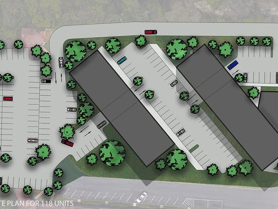 The proposed site plan for the 110-unit Solo Lofts