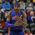 Detroit Pistons forward Josh Smith reacts against the Indiana Pacers.