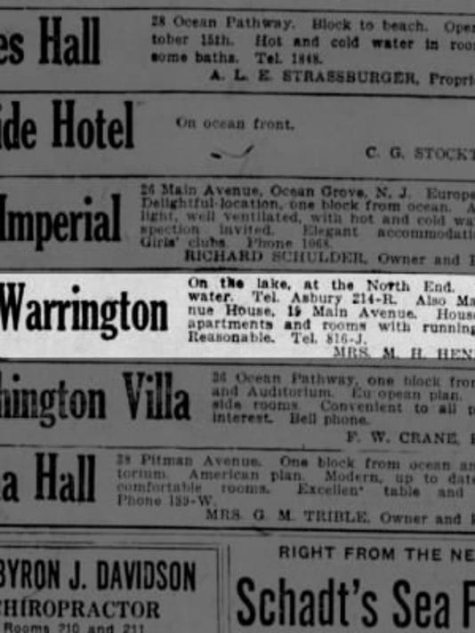 Ad for Warrington Hotel