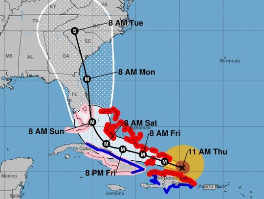 The projected path of Hurricane Irma, as of 11 a.m.