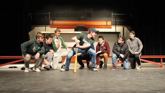 """Cast members rehearse for """"Damn Yankees"""" at Newfield High School."""