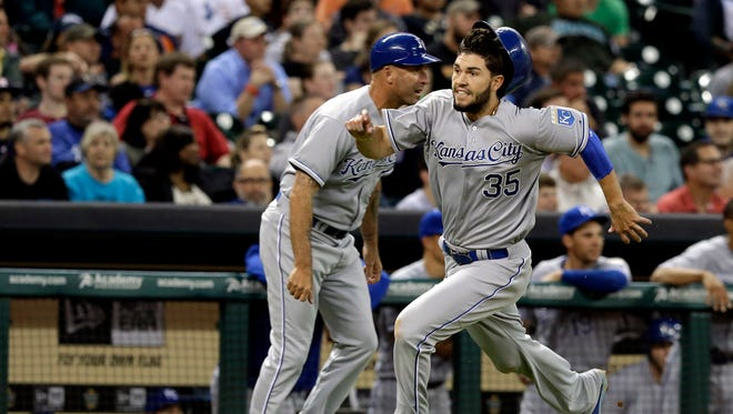 Dale Sveum , here waving home Eric Hosmer, takes over as Royals hitting coach after Pedro Grifol was demoted to catching instructor.