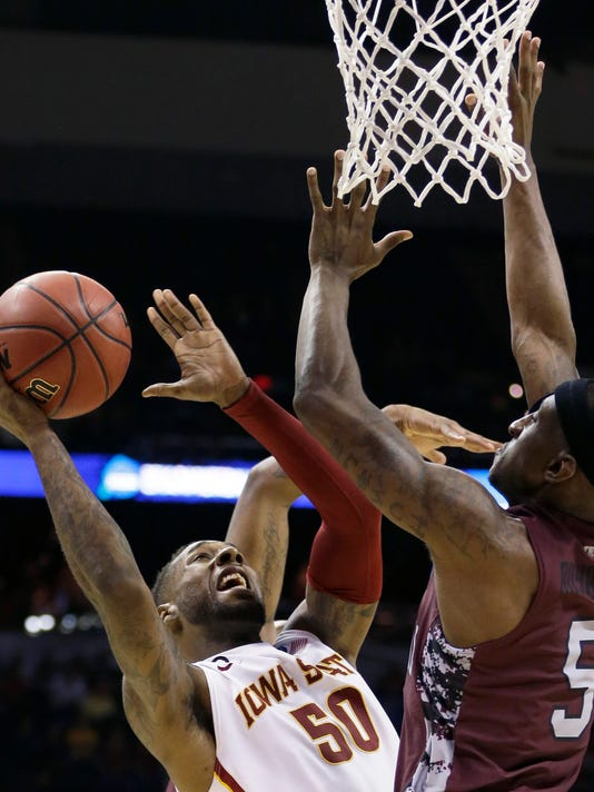 Iowa State guard DeAndre Kane (50) shoots against North Carolina Central guard Ebuka Anyaorah (5) during the first half of a second-round game in the NCAA college basketball tournament Friday, March 21, 2014, in San Antonio. (AP Photo/David J. Phillip)
