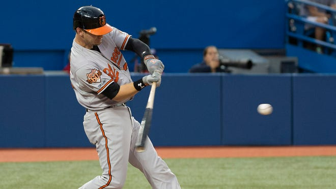 Caleb Joseph hits a two-run home run during the fourth inning in a game against the Blue Jays at Rogers Centre.