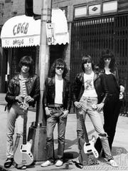The Ramones outside of CBGB's in New York City.