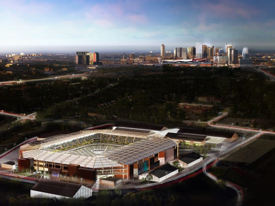 A rendering shows the proposed Major League Soccer stadium at The Fairgrounds Nashville.