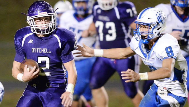 Landon Miller (2) and Mitchell are 8-0 after Friday's road win at Hendersonville.