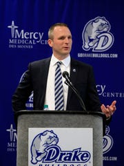 Drake Men's basketball Coach Darian DeVries speaks