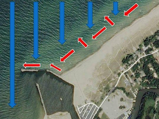 Satellite view of Buffalo beach.