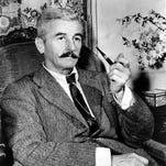 """FILE - This 1950 file photo shows American novelist William Faulkner at his home in Rowan Oaks near Oxford, Miss. Faulkners """"Twixt Cup and Lip,"""" written soon after World War I, is being published for the first time on Friday, Nov. 20, 2015."""