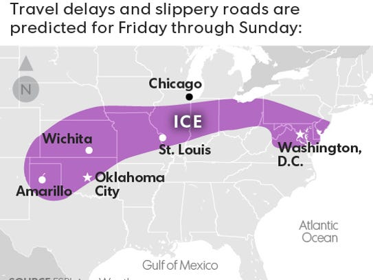 Ice storm predicted for this weekend, stretching from