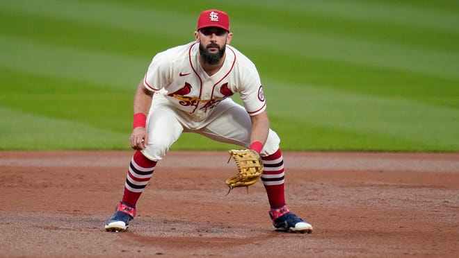 St. Louis Cardinals third baseman Matt Carpenter takes up his position during the third inning of a game against the Milwaukee Brewers Saturday, Sept. 26, 2020, in St. Louis.