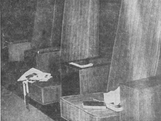 A bloodstained cloth on the center chair where Rabbi