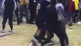 Brawl erupts after basketball game at LeMoyne-Owen College.