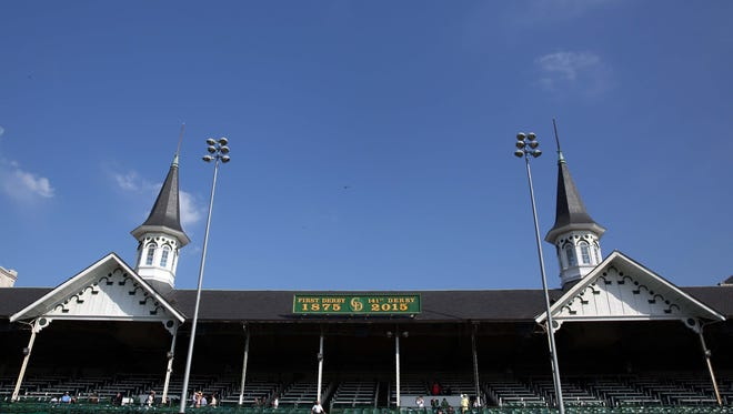 A view of the spires before 141st Kentucky Derby at Churchill Downs.