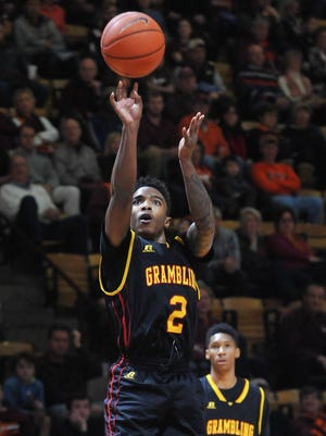 In this file photo, Grambling State guard NigelRibeiro (2) shoots against the Virginia Tech Hokies in the first half at Cassell Coliseum.