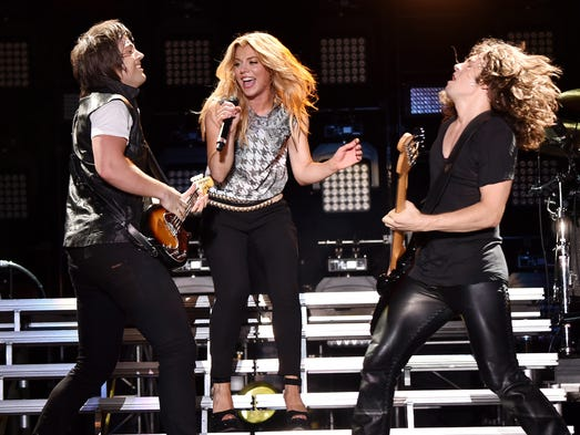 The Band Perry performs during the second day of the 2014 CMA Music Festival on June 6 in Nashville.