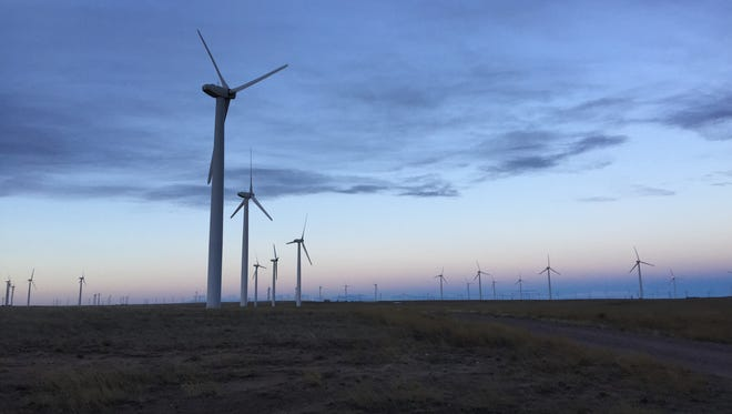 Backs to the rising sun, a group of wind turbines spin in the early morning breeze near the Colorado-Wyoming border on Wednesday, Jan. 28. 2015. Blades from wind turbines kill as many as 368,000 birds annually.