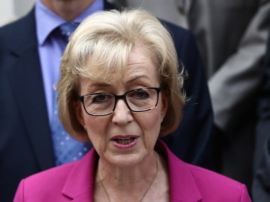 Andrea Leadsom speaks to the media as she announces