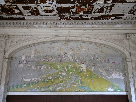 A weather-beaten mural of Fort Hancock in the interior of the Officers' Club.