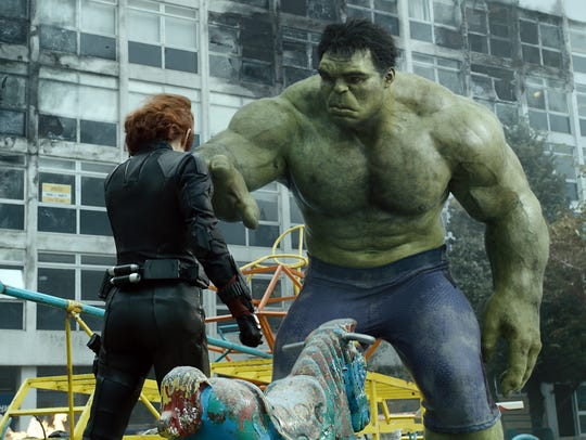 "Black Widow (Scarlett Johansson) calms down the Hulk (Mark Ruffalo) in ""Avengers: Age of Ultron."""