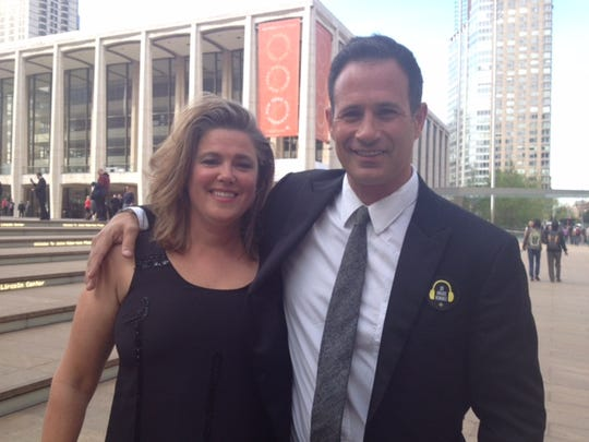 Mariah and Sam Calagione stand outside of the Lincoln Center in New York City at the 2014 James Beard Foundation Awards.