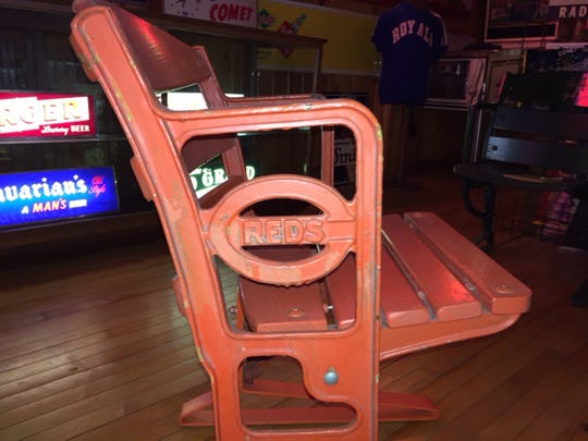 A Crosley Field lower-level seat in the collection of Anderson Township resident Mank Chatfield