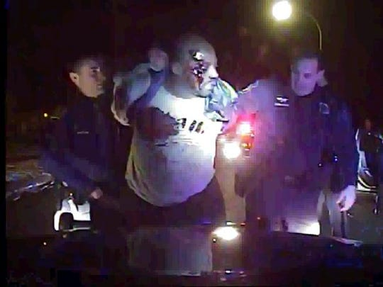 Frame grab from patrol car video shows Inkster police
