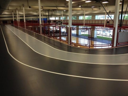 The elevated walking and jogging track helps Clarksville Athletic Club members track their mileage. It's a room with a view of the great outdoors.