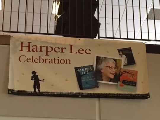 A Harper Lee celebration sign at the Barnes & Noble story at Menlo Park Mall, Edison.