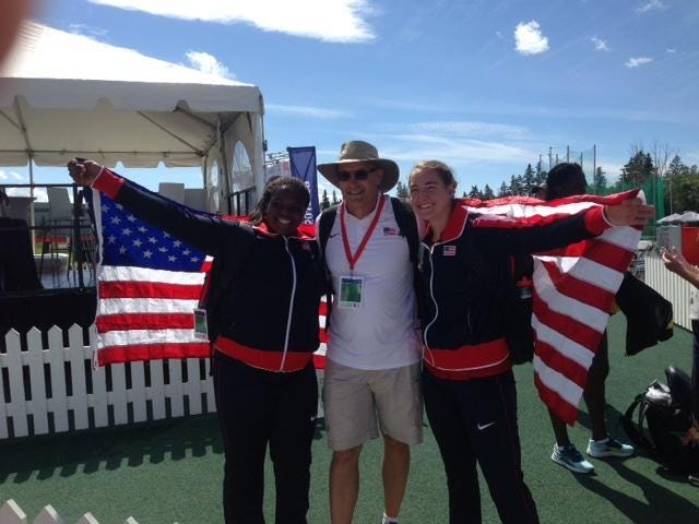 From left, Llyodricia Cameron, Brian Bedard and Josie Natrasevschi celebrate at the Pan Am Junior Games. Natrasevschi, a Fort Collins High School grad, won the discus title, with Cameron taking second. Bedard, CSU's track coach, led the USA throwers.