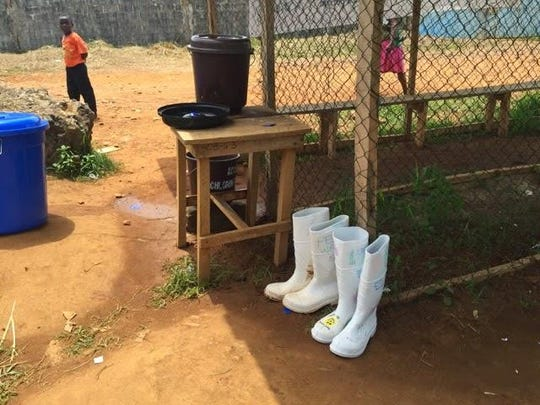 Dr. Mead's boots at the hospital's Ebola triage area.