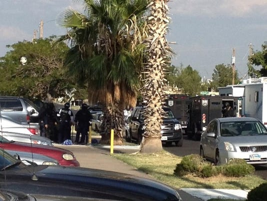 El Paso police SWAT team at scene of standoff on Maxwell Ave, at Roberts in Northeast.