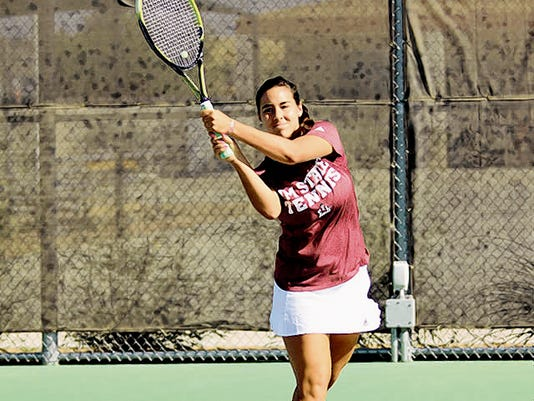 Courtesy photo   New Mexico State senior Susana Alcaraz and the Aggies are the No. 1 seed for this weekend's Western Athletic Conference Championships in Kansas City, Mo. The Aggies men are also the top seed in the men's tournament.