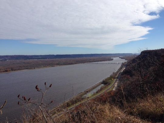 The view from Charity Bluff within John A. Latsch State Park includes the Great River Road in Minnesota, the Mississippi River and Wisconsin on the opposite shore.