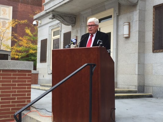 York County President Commissioner Steve Chronister addresses the media on Monday, Sept. 28 about his proposal to create a bipartisan mediation team to hash out a state budget.