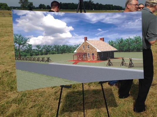 A rendered drawing of what Confederate Gen. Robert E. Lee's headquarters will look like once it is preserved. The property is being bought by the Civil War Trust for $5.5 million and being restored to its 1863 appearance before the trust gifts it to the National Park Service.