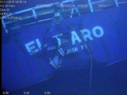 In this photograph released by the National Transportation Safety Board, the damaged stern of the sunken freighter El Faro is seen on the seafloor, 15,000-feet deep near the Bahamas. The freighter sunk on Oct. 1 after losing engine power and getting caught in a Category 4 hurricane. All 33 crew members aboard were lost at sea. Federal investigators are considering launching another search of the wreckage of a freighter. (National Transportation Safety Board via AP)