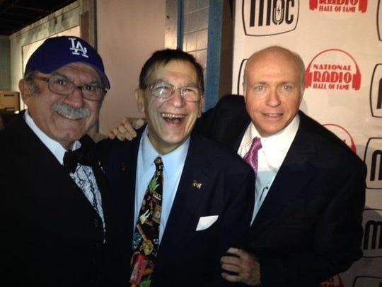 Radio-industry expert Art Vuolo, center, is flanked by Bob Kevoian, left, and Tom Griswold, right, at the 2015 National Radio Hall of Fame ceremonies in Chicago.