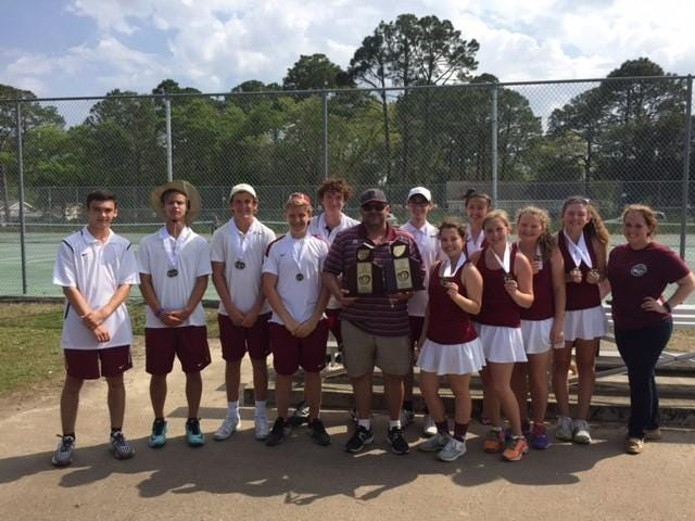 The Pensacola boys and girls tennis teams celebrate the 2016 District 1 Championship. Both teams clinched their first trip to the Florida High School State Tennis Championships.