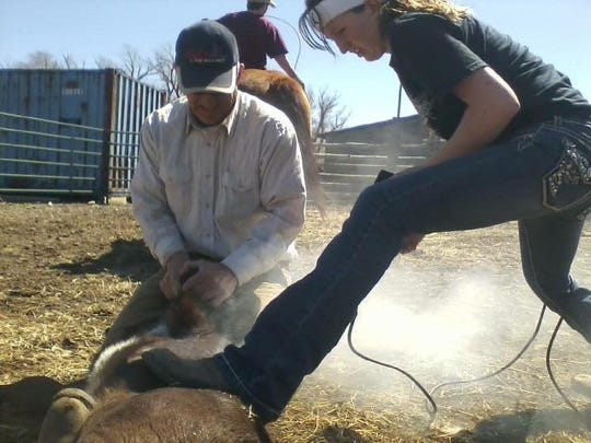 Greta Gustafson helps on the family ranch during branding. Gustafson, who wants to be a veterinarian, will combine her love of math, science and animals in that career.